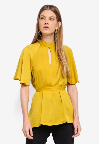 River Island yellow Tie Front Short Sleeve Blouse 59AABAA61ECD29GS_1