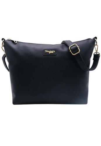 STRAWBERRY QUEEN black Strawberry Queen Flamingo Sling Bag (Saffiano Leather AZ, Black) DC131AC85BD13AGS_1