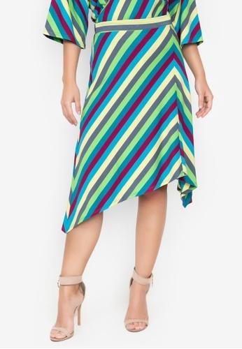 Wear Kris blue and multi Kathleen Stripe Asymmetric Hem Knit Skirt 3F42FAA20DC232GS_1