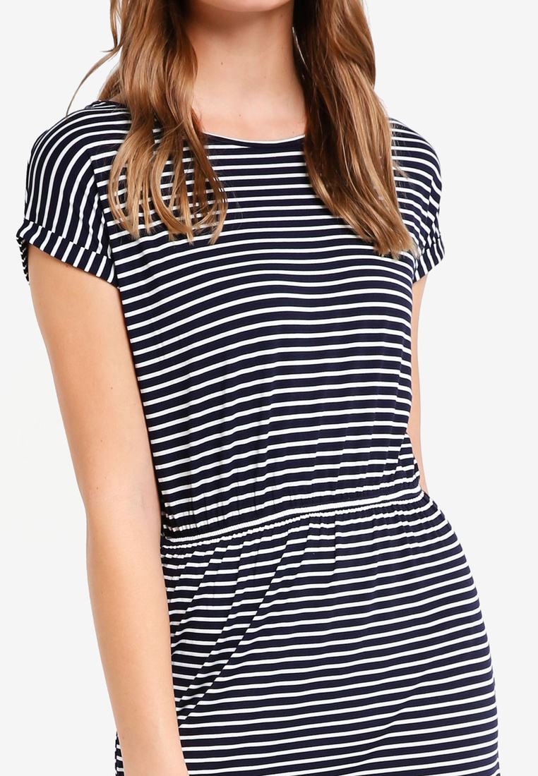 White Gathered White Black Stripe Shirt pack BASICS ZALORA Stripe Waist 2 with Dress with T Basic Navy CAwwYZq