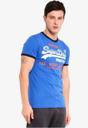 Superdry 藍色 品牌印花T恤 5900AAAD36AD28GS_1