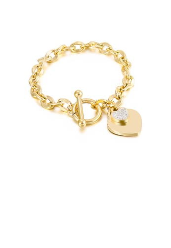 Glamorousky white Fashion and Simple Plated Gold Heart-shaped 316L Stainless Steel Bracelet with Cubic Zirconia 60223AC00E619EGS_1