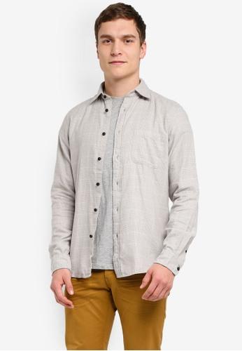 ESPRIT grey Woven Long Sleeve Shirt ES374AA0SJ7BMY_1
