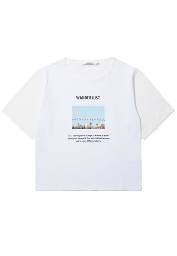 "b+ab white ""Wanderlust"" photo print tee D896DAAE2F1EE1GS_1"