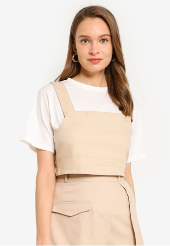 Heather beige Back Tie 2-In-1 T-Shirt C3BBFAA798B83EGS_1