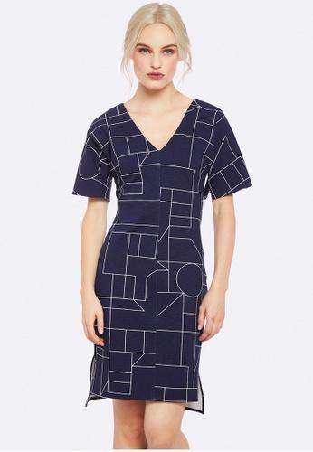 Oxford navy Scottie Geo Print Ponti Dress 22150AA879BDF8GS_1