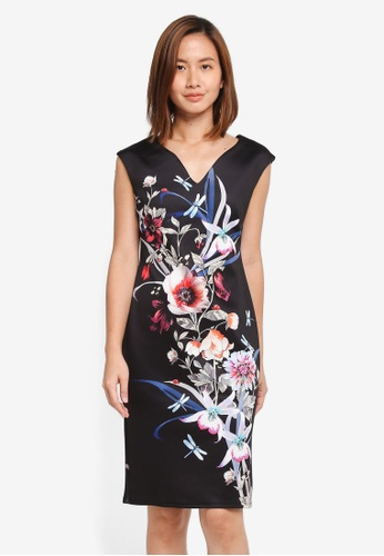 Wallis black Black Floral Shift Dress 249C9AA7F5FD9EGS_1