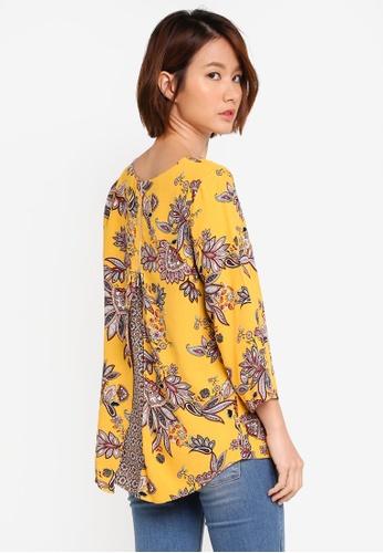 Wallis yellow Ochre Long Sleeve Paisley Print Top F8E06AA51BAA04GS_1