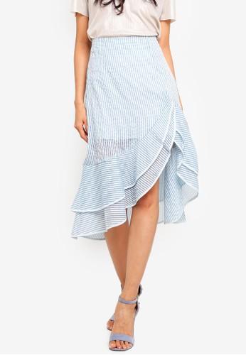 Preen & Proper blue and multi Asymmetrical Layered Ruffle Skirt 0BA65AA0F7F980GS_1