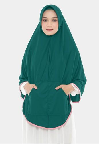 zelena green Khimar Instan Saku Bergo Instan Kerudung Syari Jumbo - Pine Green A278EAAACD72F7GS_1