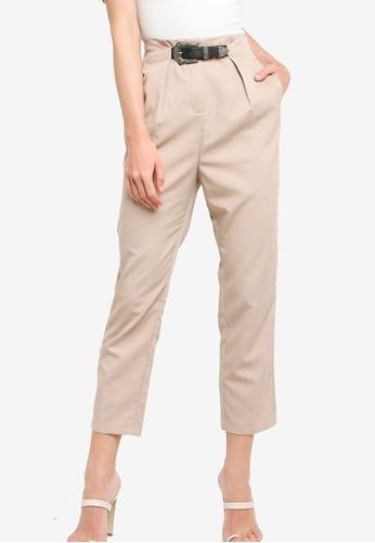 ZALORA WORK beige Buckle Detail Tapered Pants 3575AAA3517F57GS_1