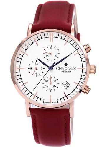 Chronox CX1004/B4 - Jam Tangan Pria - Tali Kulit Merah - Putih Rosegold