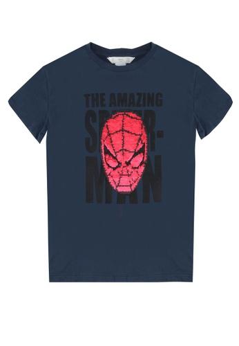 Marvel Spider-Man Reversible Sequin Navy Kids Long Sleeve Top