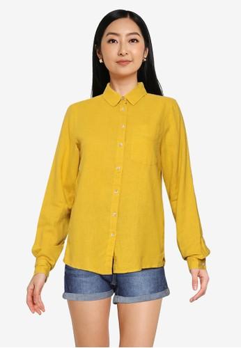 Springfield yellow Organic Cotton Linen Blouse 2DB96AAF30B328GS_1
