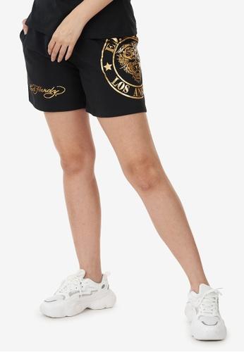 "Ed Hardy black Ed Hardy Ladies ""L.A Series"" Tiger Foil Print Short Pant 97F20AAA35C047GS_1"