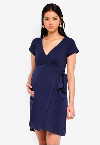 Envie De Fraise navy Maternity Portefeuille Dress 43F88AA30DA6B4GS_1