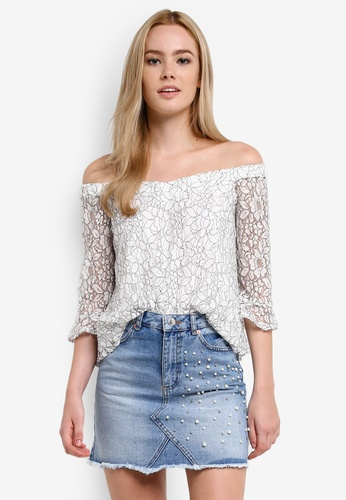 Miss Selfridge white Monochrome Lace Long Sleeve Bardot Top MI665AA0RF1KMY_1