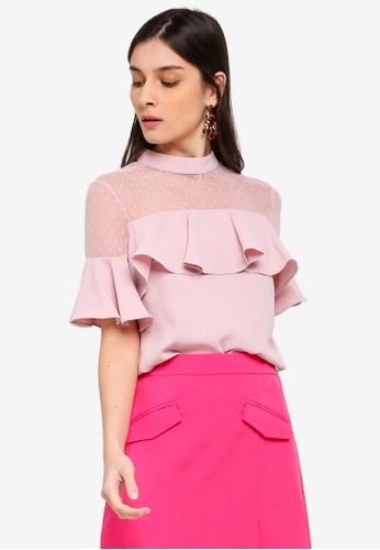 ZALORA 粉紅色 荷葉飾上衣 426DFAA18C9C51GS_1