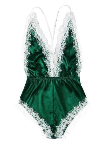 Glamorbit multi Green Lace Bodysuit Lingerie Set 8A96DUSC742C84GS_1