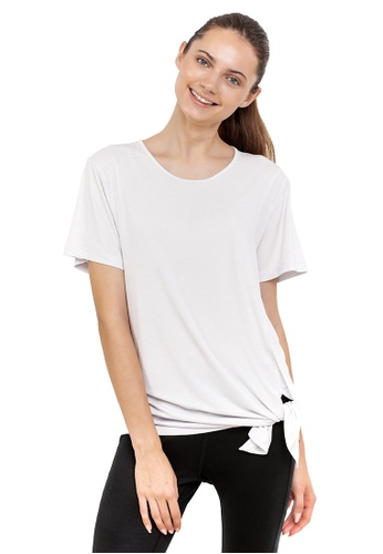 Huitieme 灰色 HUITIÈME 夏季短袖短款下擺打結寬鬆上衣女t桖 灰 67628AAABB666EGS_1