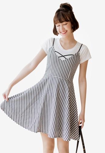 Tokichoi black Check Print Mini Cami Dress 67179AAB10646FGS_1