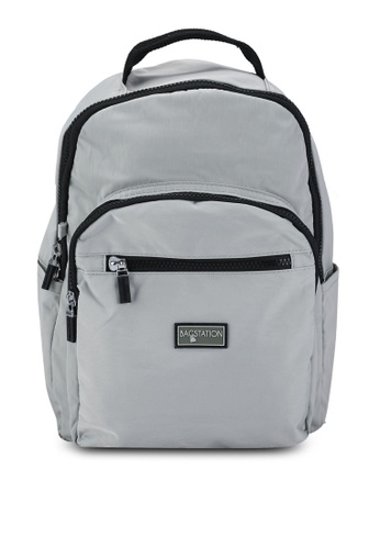 Bagstationz grey Contrast Zip Nylon Small Backpack F5A5CAC91C464BGS_1