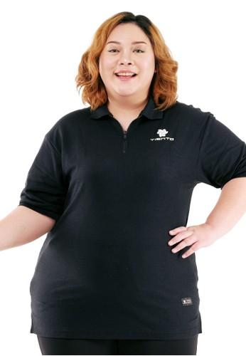 Tiento black Tiento Women Polo Shirt Big Size True Basic HDC Black Baju Kaos Kerah Resleting Lengan Pendek Pakaian Jumbo Wanita B04B4AA7643878GS_1