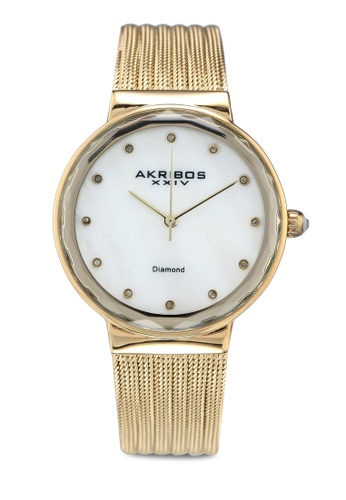 Akribos XXIV gold Diamond Mesh Watch C2B6EAC0AE7921GS_1