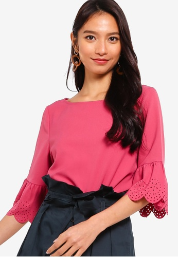 ZALORA pink Laser Cut Flare Sleeves Blouse F31ABAA095AE9FGS_1