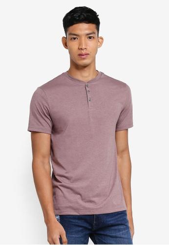 Burton Menswear London pink Pink Taupe Grandad T-Shirt 3D6EBAA905E1F3GS_1