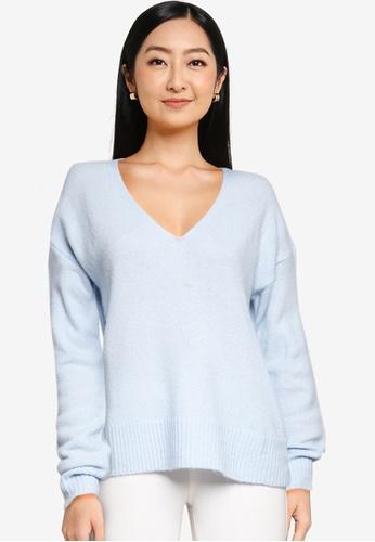 JACQUELINE DE YONG blue Elanora Long Sleeves V-neck Knit Sweater 6312AAAA4808C1GS_1