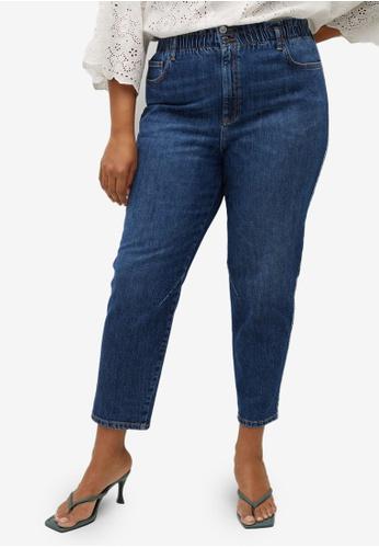 Violeta by MANGO blue Plus Size Crop Paper Bag Jeans 94A7CAAA3F0370GS_1
