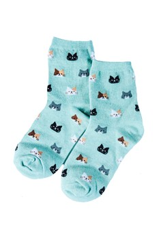Neko Atsume Teal Socks