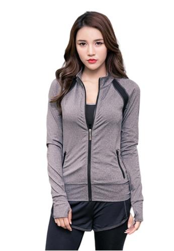 B-Code grey ZYG3072-Lady Quick Drying Running Fitness Yoga Sports Jacket -Grey A64C8AAFFCE412GS_1