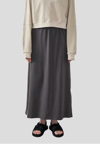 We Enjoy Simplicity grey Sport Lounge Narrow A-Line Long Skirt (Grey Stone) E1F42AA319B0F2GS_1