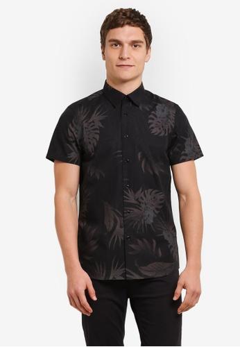 Burton Menswear London black Short Sleeve Leaf Print Shirt BU964AA0S7EJMY_1