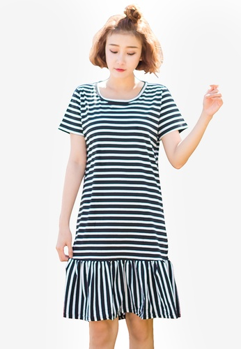Tokichoi black Striped Frill Hem Dress 61DA6AA3E7FFB0GS_1