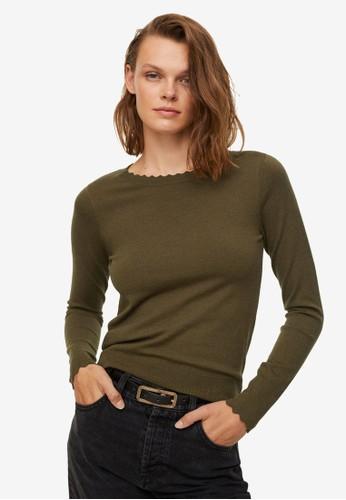 Mango green Scalloped Edges Sweater 42DD7AABBC2FF5GS_1