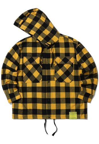 izzue yellow Checker hooded shirt CF66AAA6F2B8AFGS_1