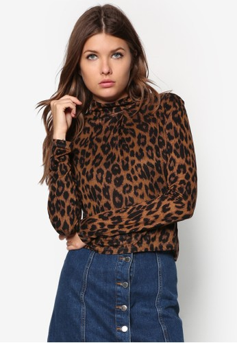 Leopard Roll Neck, 服飾,zalora 台灣門市 上衣