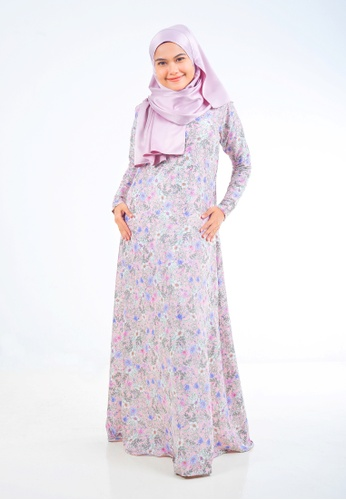 Assie Modesty pink and purple and multi Iris A-Cut Dress (With Gemstone) 03C89AAD85229DGS_1