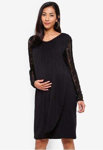 60751f21 Mama.licious black Nursing Kirsten Iris Long Sleeve Jersey Dress  A459CAAFAC8048GS_1