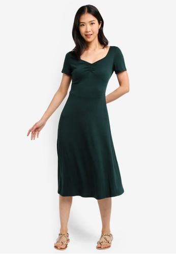 ZALORA BASICS green Basic Midi Fit & Flare Jersey Dress F3BFDAAD187F1AGS_1