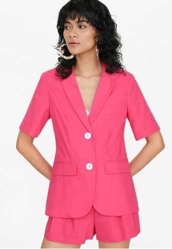Pomelo pink Double Button Short Sleeve Blazer - Pink FA2F3AAD6E15FAGS_1