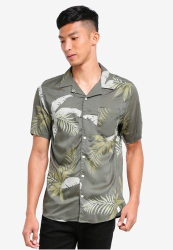 Only & Sons 綠色 短袖印花襯衫 A3C4BAAA8DDB97GS_1