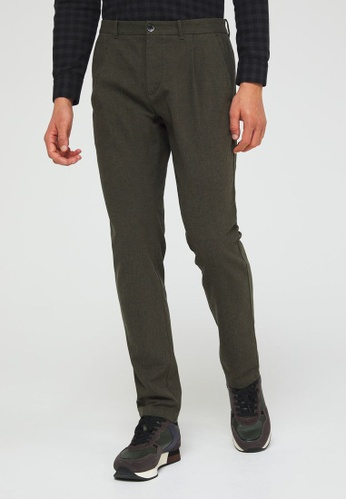 Sisley green Slim Fit Check Trousers 49F0CAA748CE36GS_1