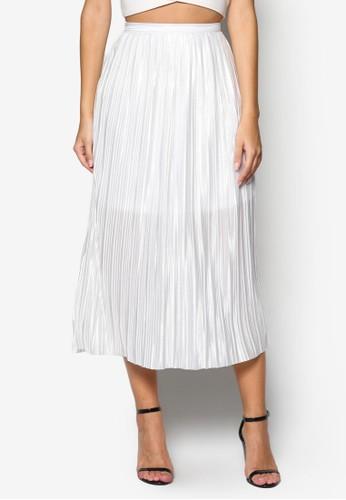 褶飾及膝短裙,esprit地址 服飾, 清新俏皮