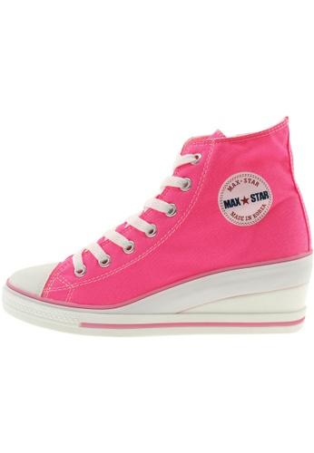 Maxstar 粉紅色 新款韩国鞋7H-Zip時尚帆布布混合女粉紅色 US Women Size MA345SH30GSBTW_1