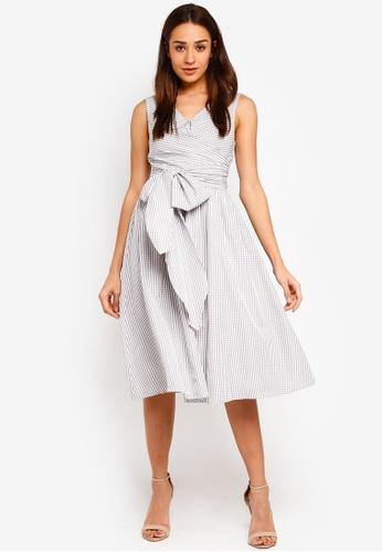 bYSI grey Gingham Waist Tie Wrap Dress 68830AA73DD020GS_1