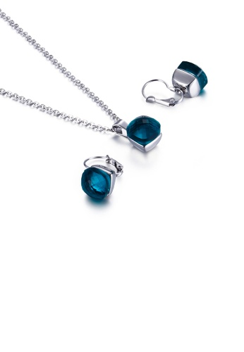 Glamorousky blue Fashion Simple Geometric Square 316L Stainless Steel Necklace and Earring Set with Blue Cubic Zirconia A2D16ACE834AB5GS_1